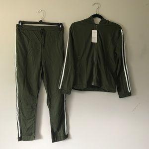 Pants - Olive green three stripe track suit